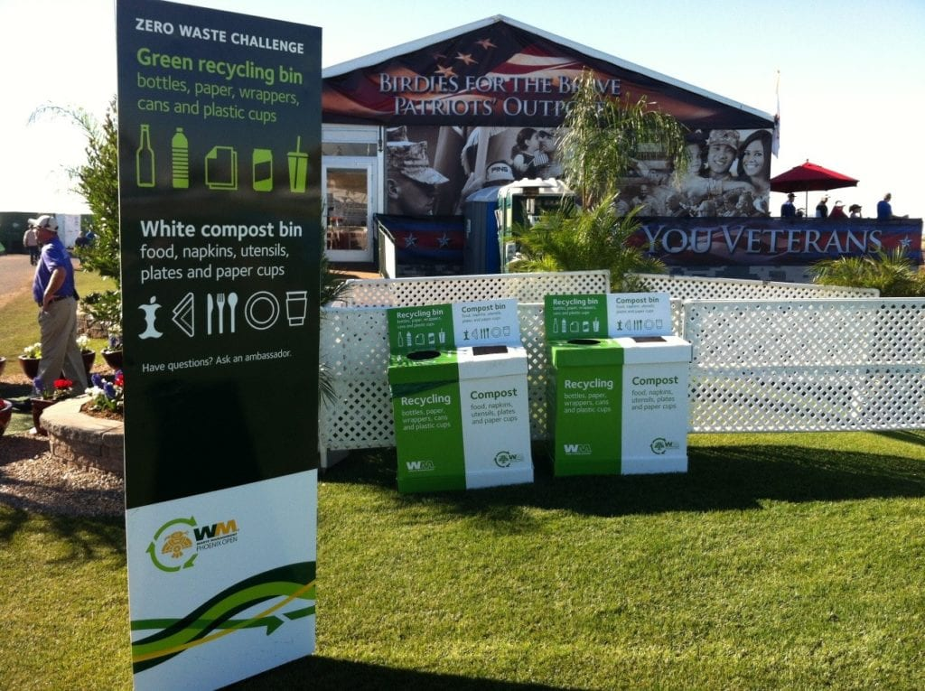 Recycling and compost bins at the Waste Management Phoenix Open.