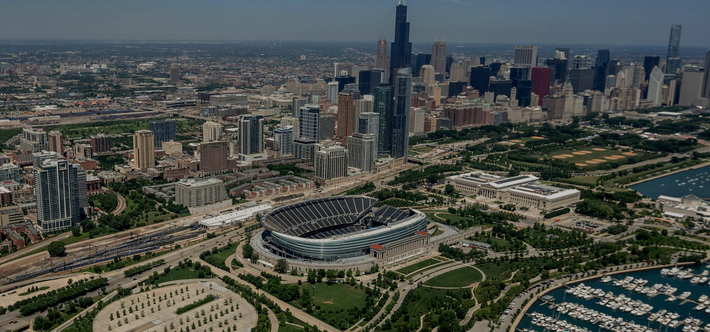 aerial view of Chicago USA skyline